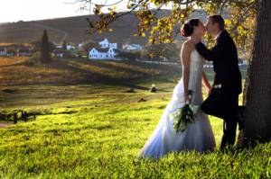 couple kissing under tree on a farm for their wedding