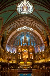 Interior of Notre Dame Basilica, Montreal, Quebec, Canada