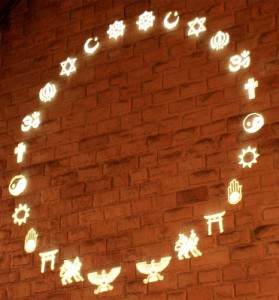 symbols made of light projected on a wall